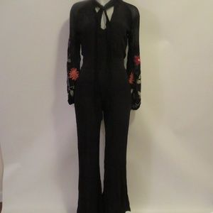 NWT FREE PEOPLE FLORAL LONG SLEEVE JUMPSUIT 2 *